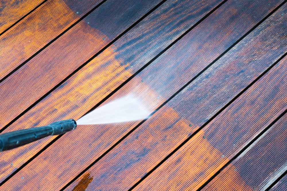 cleaning a deck